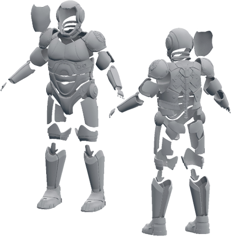 Suit of Armor Sized to Fit and Ready for 3D Printing